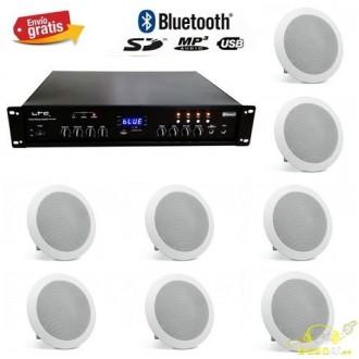 Amplificador linea 100v + 8 altavoces de techo de 8 pulgadas.