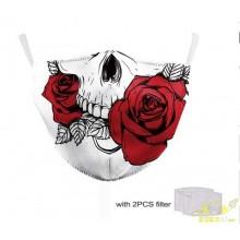 Macara diseño covid 19 reutilizable Calavera Blanca rosa roja