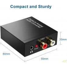 Convertidor audio digital fibra optica a rca y toma auriculares