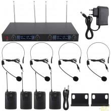 Sistemas 4 micrófonos de diadema inalambricos UHF