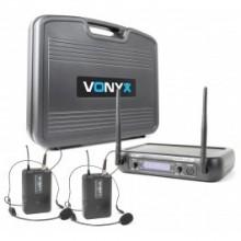 Micrófono inalámbrico UHF 2- canales con 2 micros de cabeza y display