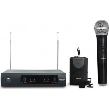 Doble Micrófono inalámbrico de mano con petaca VHF