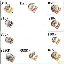 Potenciometro rotatorio eje 15mm diferentes valores